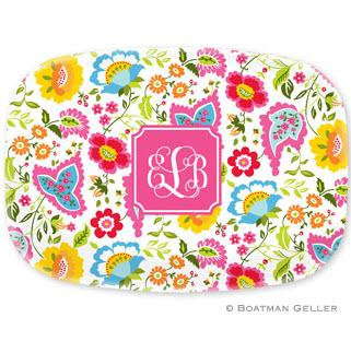 Personalized Bright Floral Platter by Boatman Geller  Home & Garden > Kitchen & Dining > Tableware > Serveware > Serving Platters