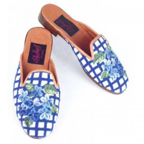 By Paige Ladies Needlepoint Hydrangea on Royal Check Mules  Apparel & Accessories > Shoes > Clogs & Mules