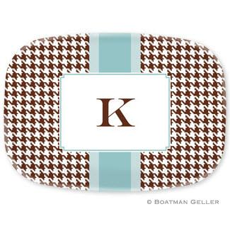 Personalized Alex Houndstooth Chocolate Oval Platter  Home & Garden > Kitchen & Dining > Tableware > Serveware > Serving Platters