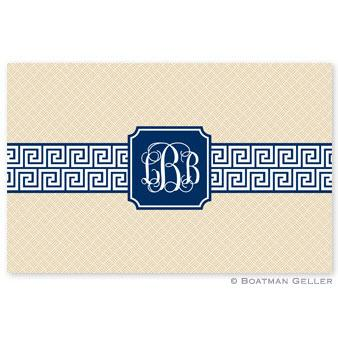 Boatman Geller Personalized Laminated Placemat with Greek Key Band Navy Pattern  Home & Garden > Linens & Bedding > Table Linens > Placemats