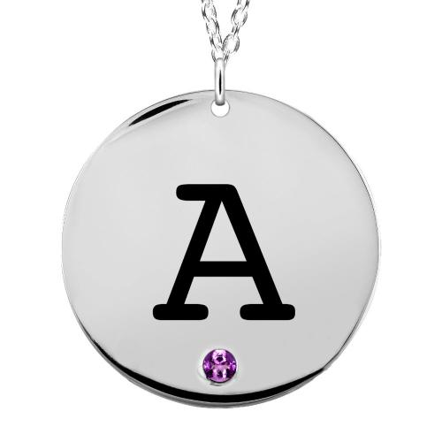 Single Engraved Initial Disc with Birthstone Necklace  Apparel & Accessories > Jewelry > Necklaces