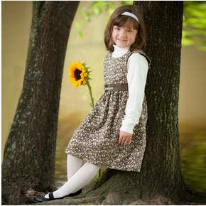 Monogrammed Girl's Brown Floral Sash Dress  Apparel & Accessories > Clothing > Baby & Toddler Clothing > Baby & Toddler Dresses