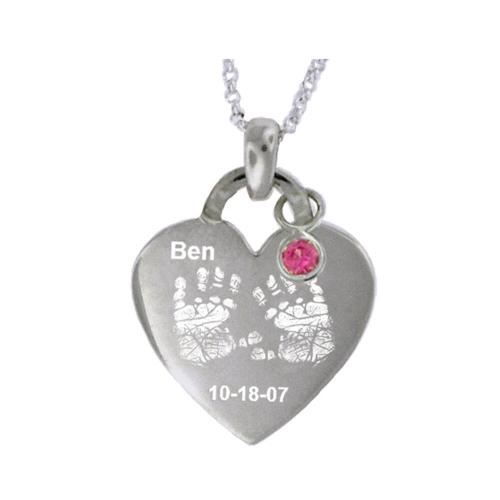 Baby Hand or Foot Print Heart Pendant Personalized with Name and Date  Apparel & Accessories > Jewelry > Necklaces