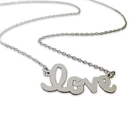 Love Script Necklace Silver or Gold  Apparel & Accessories > Jewelry > Necklaces