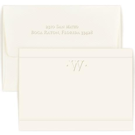 Personalized One Initial Embossed Correspondence Card  Office Supplies > General Supplies > Paper Products > Stationery