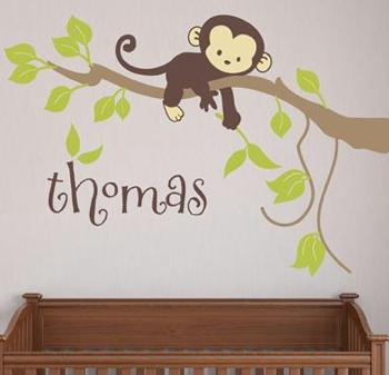 Monogram Decal Fabric Monkey on Branch for Your Wall   Home & Garden > Decor > Wall & Window Decals