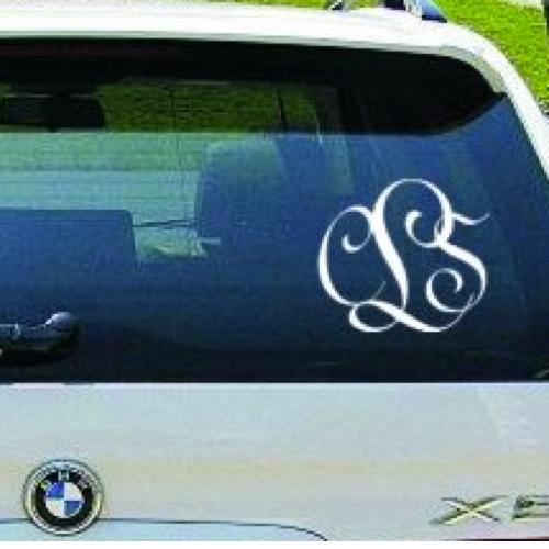 Monogrammed Script Car Decal   Vehicles & Parts > Vehicle Parts & Accessories > Motor Vehicle Care > Vehicle Decor