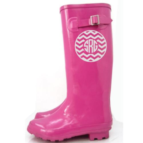 monogrammed chevron rain boot decal in many colors