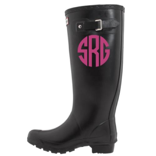 Monogrammed Circle or Interlocking Rain Boot Decals  Apparel & Accessories > Shoe Accessories