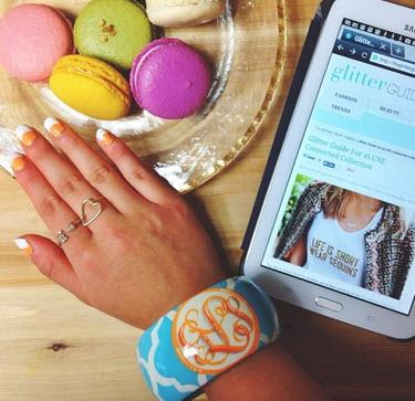 Monogrammed Geometric Hand Painted Bangle Bracelet   Apparel & Accessories > Jewelry > Bracelets