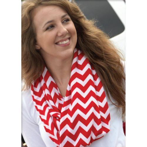 Clearance Sale Monogrammed Red Chevron Infinity Scarf  Apparel & Accessories > Clothing Accessories > Scarves & Shawls