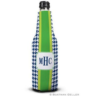 Alex Houndstooth Navy Bottle Koozie  Home & Garden > Kitchen & Dining > Food & Beverage Carriers > Drink Sleeves > Can & Bottle Sleeves