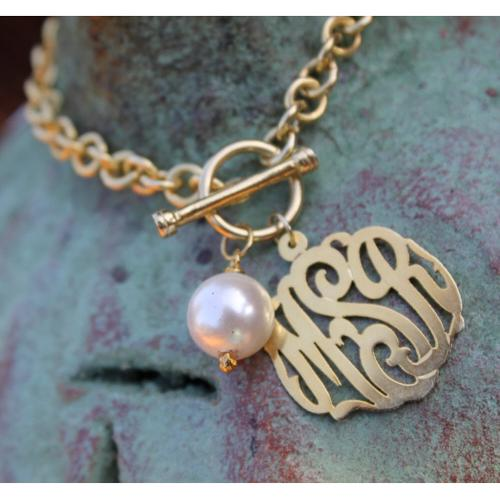 Monogrammed Toggle Bracelet with 10mm pearl  Apparel & Accessories > Jewelry > Bracelets