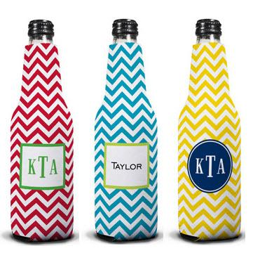 Personalized Chevron Bottle Koozie by Boatman Geller  Home & Garden > Kitchen & Dining > Food & Beverage Carriers > Drink Sleeves > Can & Bottle Sleeves