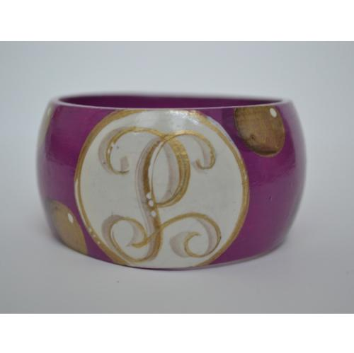 Monogrammed Hand Painted Single Initial Polka Dot Bangle Bracelet  Apparel & Accessories > Jewelry > Bracelets