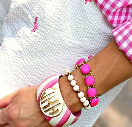 Monogrammed Diagonal Stripe Hand Painted Bangle Bracelet  Apparel & Accessories > Jewelry > Bracelets