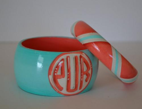 Monogrammed Wooden Chevron Bangle Bracelet Set  Apparel & Accessories > Jewelry > Bracelets