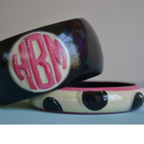 Monogrammed Polka Dot Wooden Bangle Bracelet Set in Team Colors  Apparel & Accessories > Jewelry > Bracelets