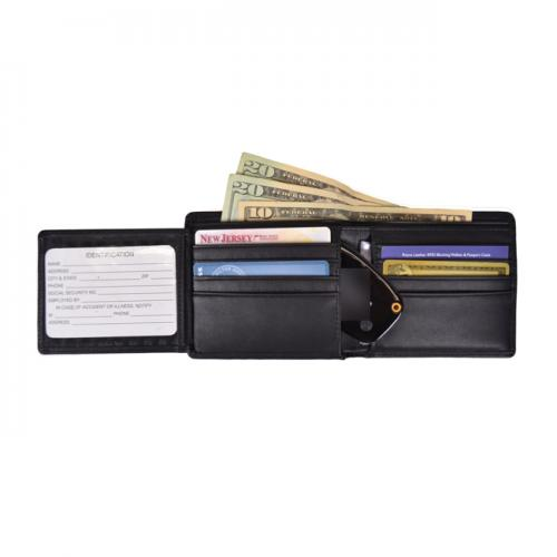 Personalized Mens Gps and Anti-Theft Fine Leather Bi Fold Wallet   Apparel & Accessories > Handbags, Wallets & Cases