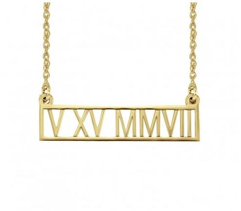 Roman Numeral Date Necklace  Apparel & Accessories > Jewelry > Necklaces