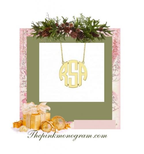 Monogrammed 14 Kt Gold Block Necklace in Five Sizes  Apparel & Accessories > Jewelry > Necklaces