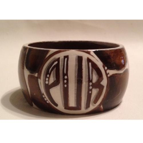 Monogrammed Wooden Bangle Bracelet Giraffe Pattern  Apparel & Accessories > Jewelry > Bracelets