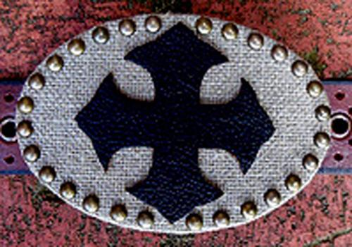 Loopty Loo Natural Burlap with Leather Cross Buckle Natural Burlap Leather Cross Buckle Apparel & Accessories > Clothing Accessories > Belt Buckles
