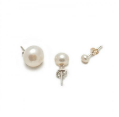Classic White Cultured Pearl Stud Earrings in four Sizes  Apparel & Accessories > Jewelry > Earrings