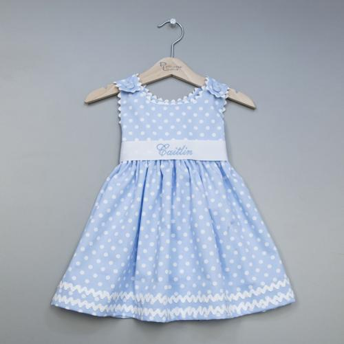 Monogrammed Polka Dot Pique Sash Dress in Light Blue  Apparel & Accessories > Clothing > Baby & Toddler Clothing > Baby & Toddler Dresses