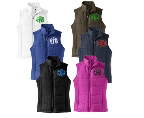 Monogrammed Ladies Puffy Winter Vest  Apparel & Accessories > Clothing > Outerwear > Vests