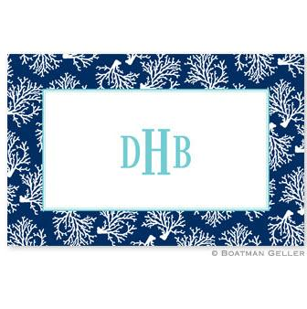 Placemat with Coral Repeat Navy Pattern  Home & Garden > Linens & Bedding > Table Linens > Placemats