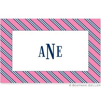 Boatman Geller Personalized Laminated Placemat wtih Repp Tie Pink & Navy Pattern  Home & Garden > Linens & Bedding > Table Linens > Placemats