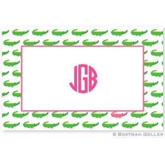 Boatman Geller Personalized Alligator Repeat Laminated Placemat  Home & Garden > Linens & Bedding > Table Linens > Placemats