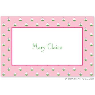 Boatman Geller Personalized Little Sailboat Pink Laminated Placemat  Home & Garden > Linens & Bedding > Table Linens > Placemats