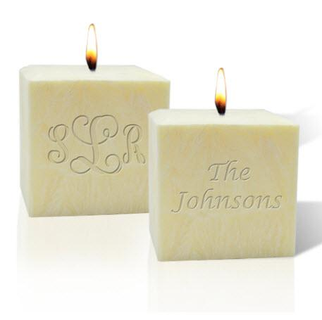 Monogrammed 3 Inch Palm Wax PIllar Candles  Home & Garden > Decor > Candles
