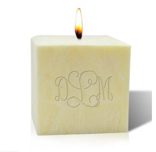 Carved Solutions Monogrammed 4 Inch Aromatherapy Palm Wax Candle  Home & Garden > Decor > Candles