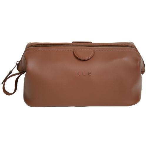 Personalized Mens Tan Leather Toiletry Bag  Luggage & Bags > Toiletry Bags