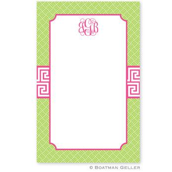 Boatman Geller Personalized Notepad in Greek Key Band Pink Pattern  Office Supplies > General Supplies > Paper Products > Notebooks & Notepads