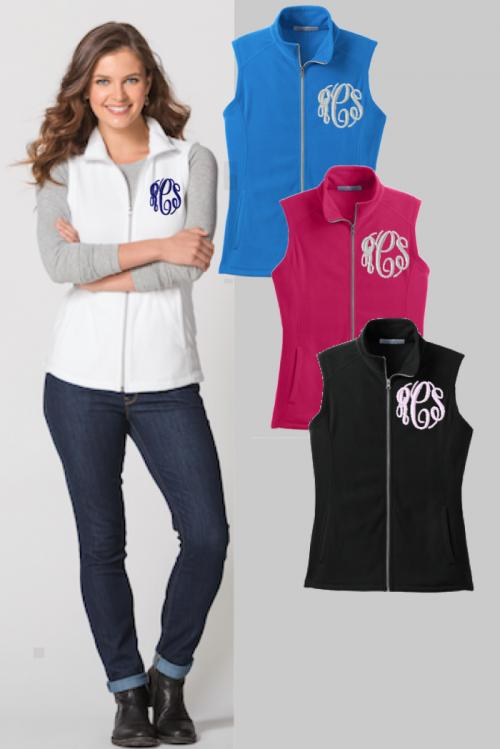 Ladies Monogrammed Microfleece Vest in All Colors  Apparel & Accessories > Clothing > Outerwear > Vests