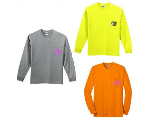 Monogrammed Cotton Long Sleeve Tee Shirt with Pocket In Several Colors  Apparel & Accessories > Clothing > Shirts & Tops > T-Shirts