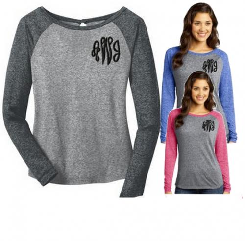 Monogrammed  Ladies Long Sleeve Raglan Tee Shirt  Apparel & Accessories > Clothing > Shirts & Tops > T-Shirts