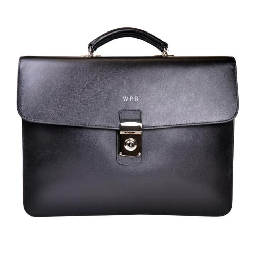 Personalized Luxury Black Italian Saffiano Leather Briefcase   Luggage & Bags > Business Bags > Briefcases