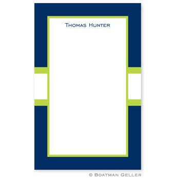 Boatman Geller Personalized Notepad in Stripe Navy & Lime Pattern  Office Supplies > General Supplies > Paper Products > Notebooks & Notepads