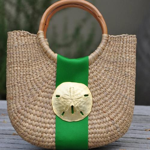 Queen Bea Large Coastal Half Moon Basket  Apparel & Accessories > Handbags > Tote Handbags