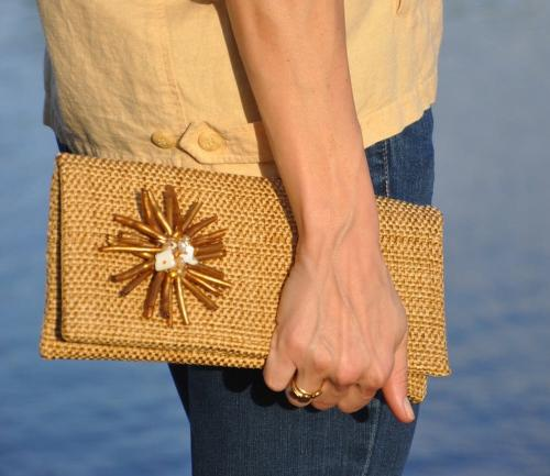 Queen Bea Linen clutch with brooch  Apparel & Accessories > Handbags > Clutches & Special Occasion Bags