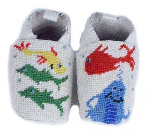 By Paige One Fish Two Fish Needlepoint Baby Booties   Apparel & Accessories > Shoes > Baby & Toddler Shoes