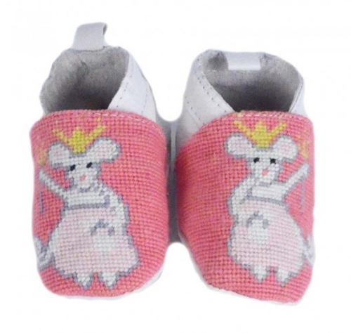 By Paige Needlepoint Baby Booties Princess Mouse Pattern  Apparel & Accessories > Shoes > Baby & Toddler Shoes