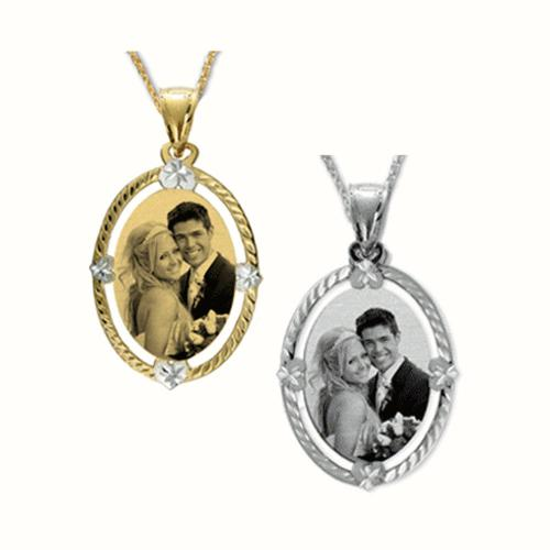 Oval Portrait Pendant with Embellished Diamond Cut Frame  Apparel & Accessories > Jewelry > Necklaces