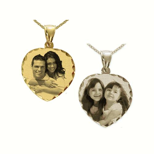 Heart Portrait Pendant with Diamond Cut Frame  Apparel & Accessories > Jewelry > Necklaces