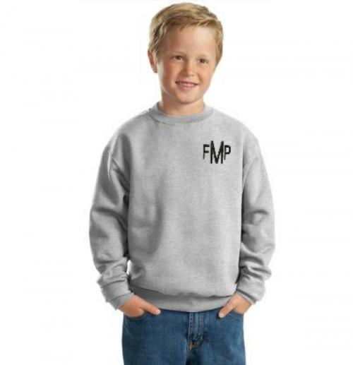 Monogrammed Youth Crew Sweatshirt in 9 colors  Apparel & Accessories > Clothing > Activewear > Sweatshirts